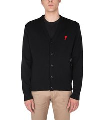 ami alexandre mattiussi cardigan with embroidered heart