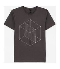 camiseta slim estampa cubo geométrico | request | cinza | p