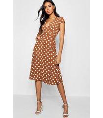 boutique polka dot wrap dress, terracotta