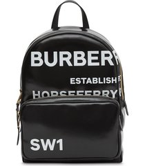 burberry horseferry print coated-canvas backpack - black