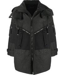 diesel black gold flap-pocket hooded parka coat