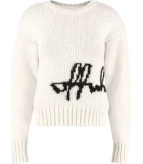 off-white off-white intarsia crew-neck sweater