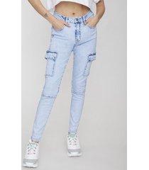 jeans skinny cargo básico azul claro acid wash  - mujer