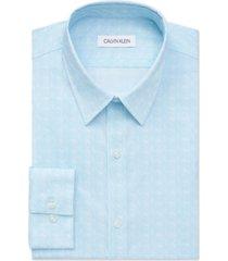 calvin klein men's extreme slim fit stain shield performance stretch blue geo-print dress shirt