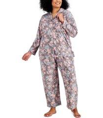 charter club plus size cozy fleece pajama set, created for macy's