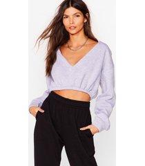 womens let it v cropped sweatshirt - grey