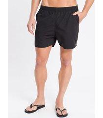 shorts dágua regular liso micro basico - preto - p