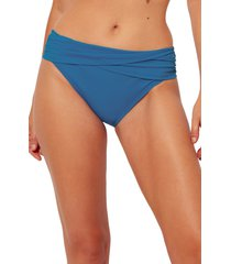 women's bleu by rod beattie kore sarong hipster bikini bottoms, size 10 - blue