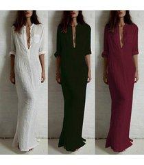 zanzea women cotton pencil maxi dress evening party dresses casual long dress