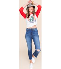 women's harper heritage destructed high rise ankle jeans in denim by francesca's - size: 9