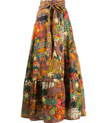 chufy belted patterned maxi skirt - brown