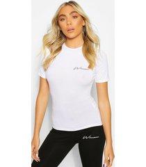 woman print slim fit top, white