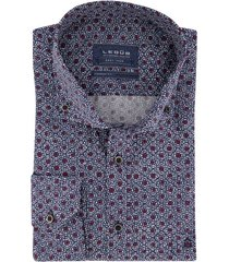 ledub shirt blauw rood geprint modern fit