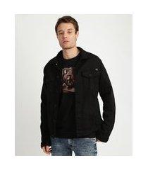 jaqueta masculina trucker com bolsos manga longa preta