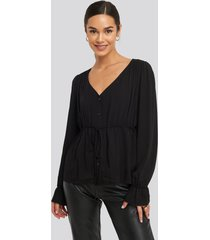 na-kd drawstring detail blouse - black