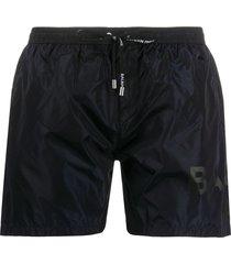 balmain logo print swim shorts - blue