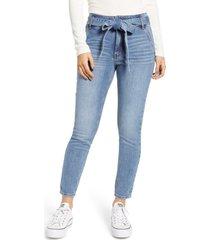 women's prosperity denim belted high waist ankle skinny jeans, size 25 - blue