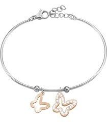 bracciale bangle farfalle in acciaio bicolore e cristalli per donna