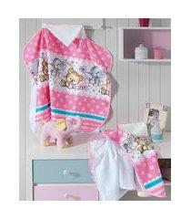 toalha de banho infantil döhler estampada de poá com bichinhos e capuz pink