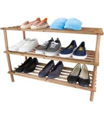 home basics pine wood 3-tier shoe rack