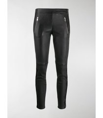 alexander mcqueen lace-trim skinny leather trousers