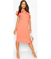 one shoulder ruffle frill midi dress, coral