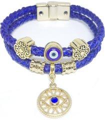 pulseira couro alice monteiro trançada olho grego azul.