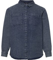 shirt denim plus buttons collar overhemd met lange mouwen blauw zizzi