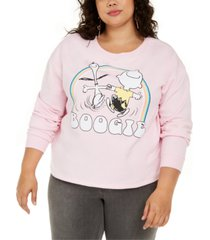 love tribe trendy plus size snoopy boogie graphic-print sweatshirt