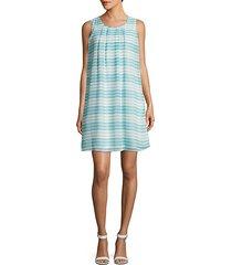 sleeveless striped shift dress