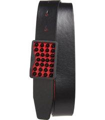 men's big & tall christian louboutin louis spike leather belt, size 115 eu - black