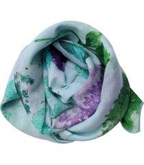 lenço smm acessorios na latinha floral verde agua
