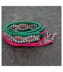 beaded cotton tie belt, 'emerald glamour' (india)