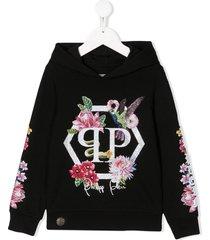 philipp plein crystal flowers hoodie - black