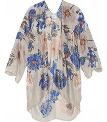 women's metallic floral kimono beige multi one size from sole society
