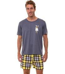 pijama masculino manga curta xadrez luna cuore