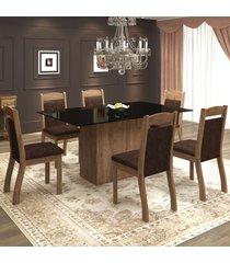 mesa de jantar 6 lugares valsa dover/chocolate/preto - mobilarte móveis
