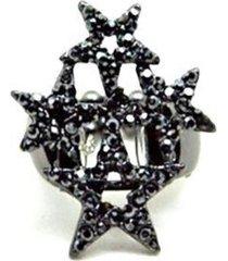 anel alessandra diana swarovski estrela grafite
