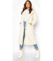 longline teddy faux fur coat, cream