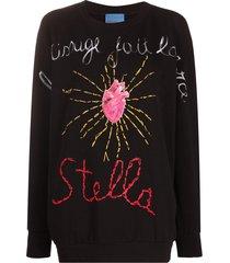 stella jean heart print jumper - black