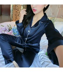 pajama set couples women men soft silk satin long sleeve sleepwear homewear robe
