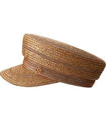 maison michel abby woven sailor cap - brown