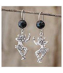 dark green jade dangle earrings, 'jaguar dancers' (guatemala)
