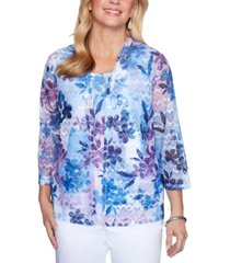 alfred dunner classics embellished floral-print layered-look top