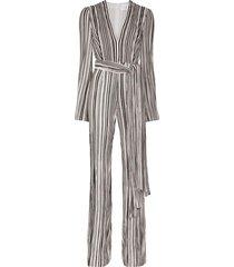 galvan taja striped jumpsuit - black/white