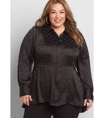 lane bryant women's textured high-low peplum tunic 28 black