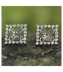 sterling silver button earrings, 'cola nut' (ghana)
