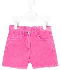 monnalisa frayed edge fitted shorts - pink
