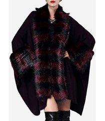 cappotti in pelliccia sintetica casual a maniche larghe a pipistrello a righe