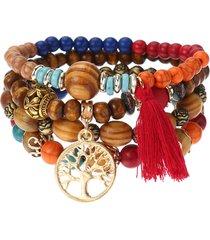 donna vintage braccialetto elastico a mlutistrato con perline e albero di vita traforato con fragne